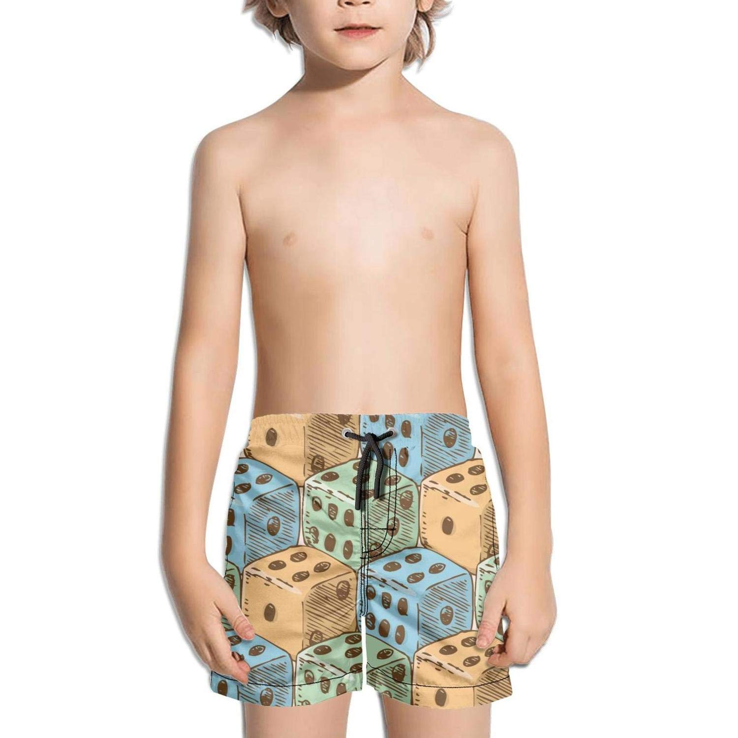 Lenard Hughes Boys Quick Dry Beach Shorts with Pockets Color Dices Game Swim Trunks for Summer
