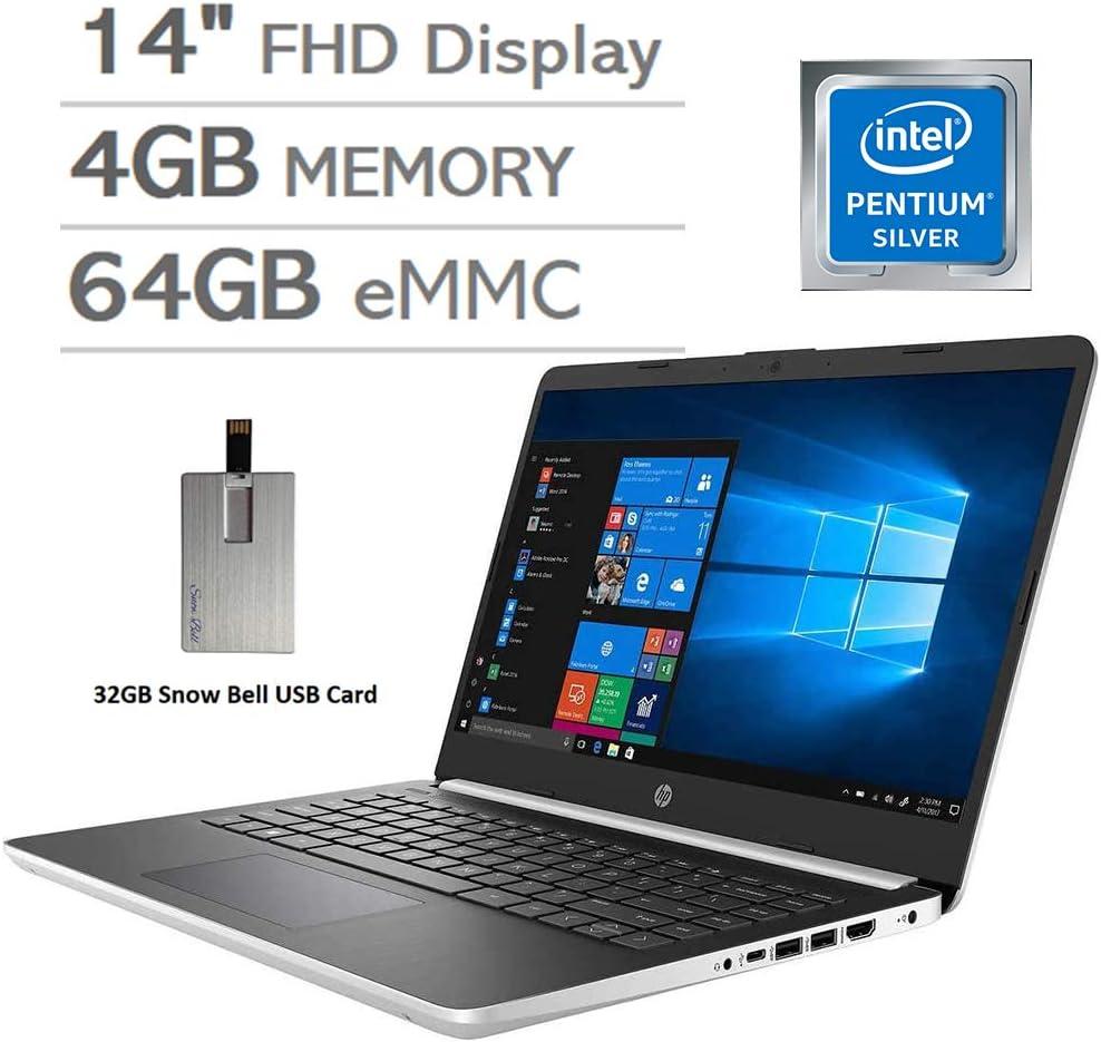 "2020 HP Pavilion 14"" FHD Laptop Computer, Intel Pentium N5000 Processor, 4GB DDR4 RAM, 64GB eMMC SSD, HD Webcam, HD Audio, HDMI, Intel UHD Graphics, Windows 10 S, Silver, 32GB USB Card"