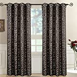 Set of 2 Panels 104″Wx63″L -Royal Tradition- Chocolate- Abstract Jacquard TUSCANY Curtain, 52-Inch by 63-Inch each Panel. Package contains set of 2 panels 63 inch long