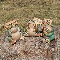Juego de 3 estatuas y figuras de jardín de ranas bonitas, divertidas esculturas de decoración para exteriores, las mejores estatuas de interior y exterior para patio y jardín: Amazon.es: Jardín
