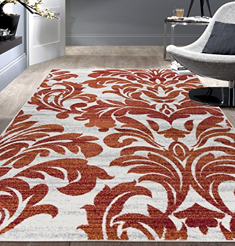Contemporary Floral Damask Soft Area Rug 7' 10