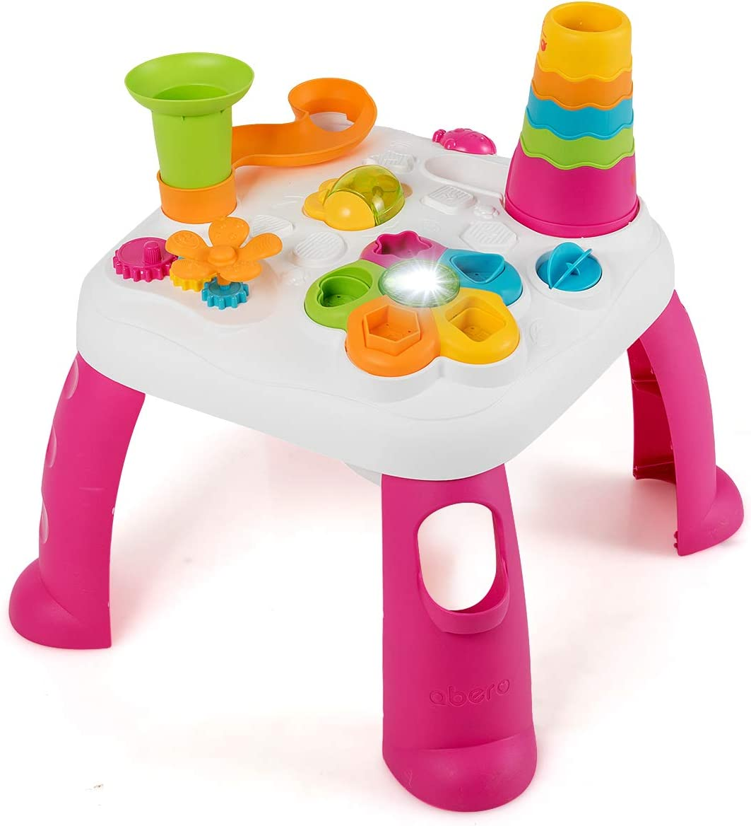 Baby Joy Toddler Learning Table, 2 in 1 Sit to Stand Early Education Toy, Convertible Activity Play Game Musical Table w/ Sound, Light, Music Functions, Kids Toddler Birthday Gift (Pink)