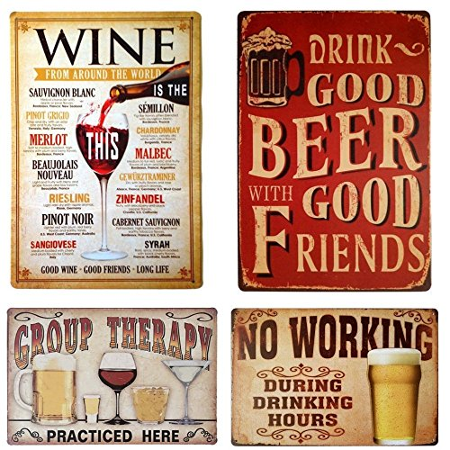 (88 store Tin Sign Wall Decor Retro Metal Plaque Bar Pub Vintage Poster Set of 4 with No Working Beer Wine Group Therapy)