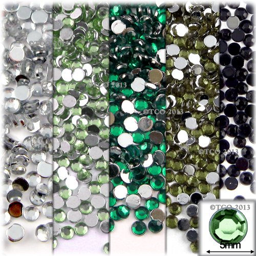The Crafts Outlet 720-Piece Round Flat Back Rhinestones Set, 5mm, Green Tones, 5-Pack