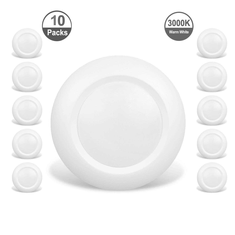 JULLISON 10 Packs 4 Inch LED Low Profile Recessed & Surface Mount Disk Light, Round, 10W, 600 Lumens, 3000K Warm White, CRI80, DOB Design, Dimmable, Energy Star, ETL Listed, White
