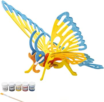 Miscy 3d Puzzle Arts Projects Craft Wood 3d Puzzles For Kids Ages 3 Especially For 6 8 Up Assemble Paint Diy Animal Crafts Butterfly