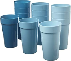 Spectrum 20-ounce Plastic Tumblers | set of 12 in Shades of Coastal Blue
