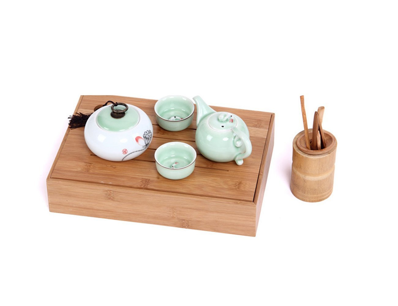 Wood Box,AOLOX Creative Bamboo Tea Bag Storage Box Multi Sectional Snack Serving Tray Set with Lid,Suitable for Tea Bag ,Dried Fruits, Nuts, Candies Holder and sock,Underwear-6 Compartments by AOLOX (Image #4)