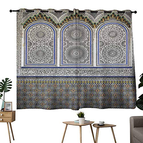 (Mannwarehouse Arabian Printed Curtain Nostalgic Moroccan Architecture Stone Carving and Motifs Majestic Ottoman Empire 70%-80% Light Shading, 2 Panels,55
