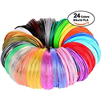 3D Pen/3D Printer Filament,1.75mm PLA filament Pack of 24 Different Colors,High-Precision Diameter Filament, Each color 10 Feet, total 240 Feet Lengths by Mika3d by MIKA3D