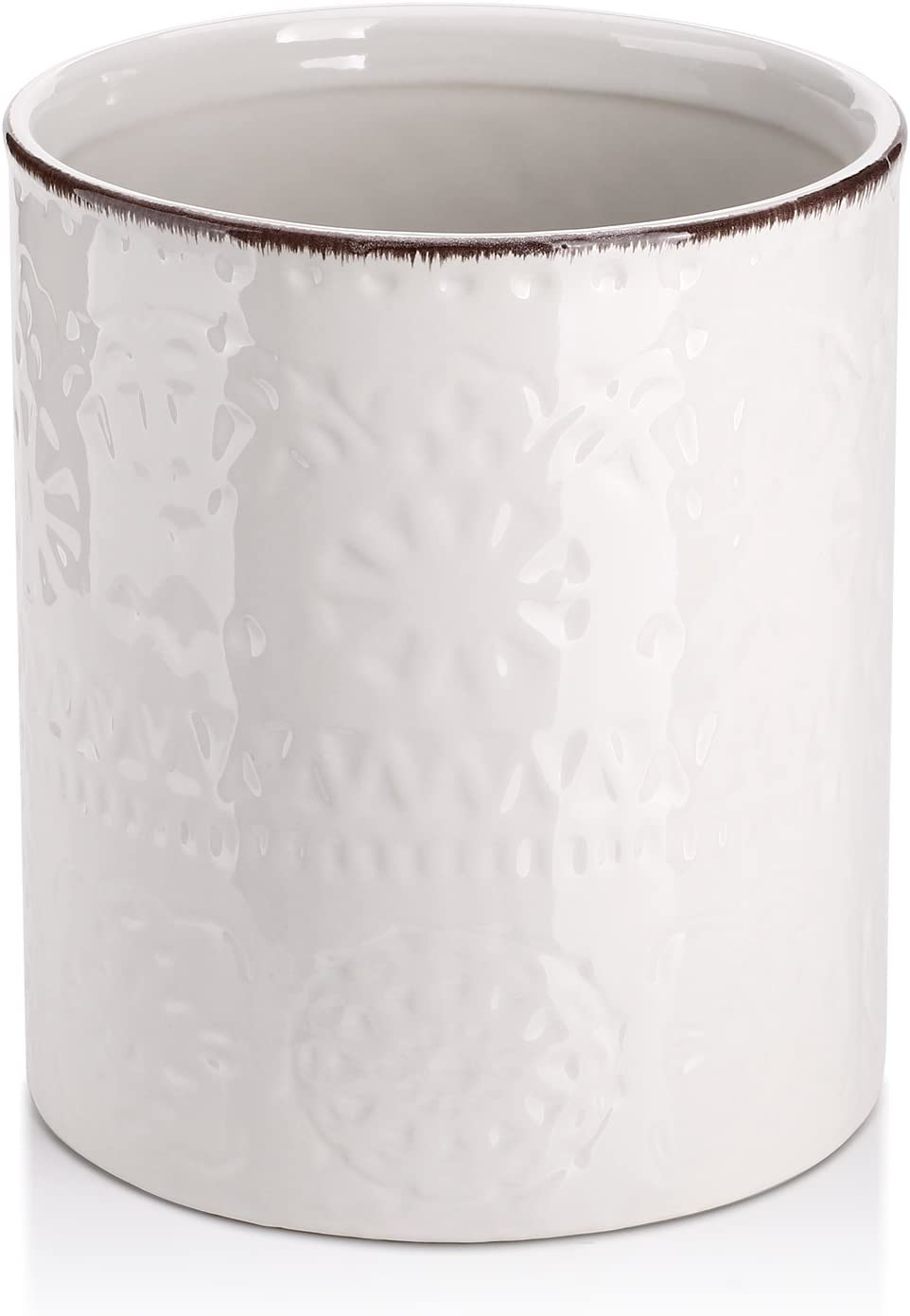 DOWAN Utensil Holder, Ceramic Kitchen Utensil Holder with Cork Mat, Embossed Utensils Holder, White