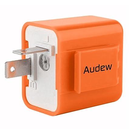 AUDEW 2-Pin Electronic Turn Signal Flasher Relay Fix Motorcycle Turn on