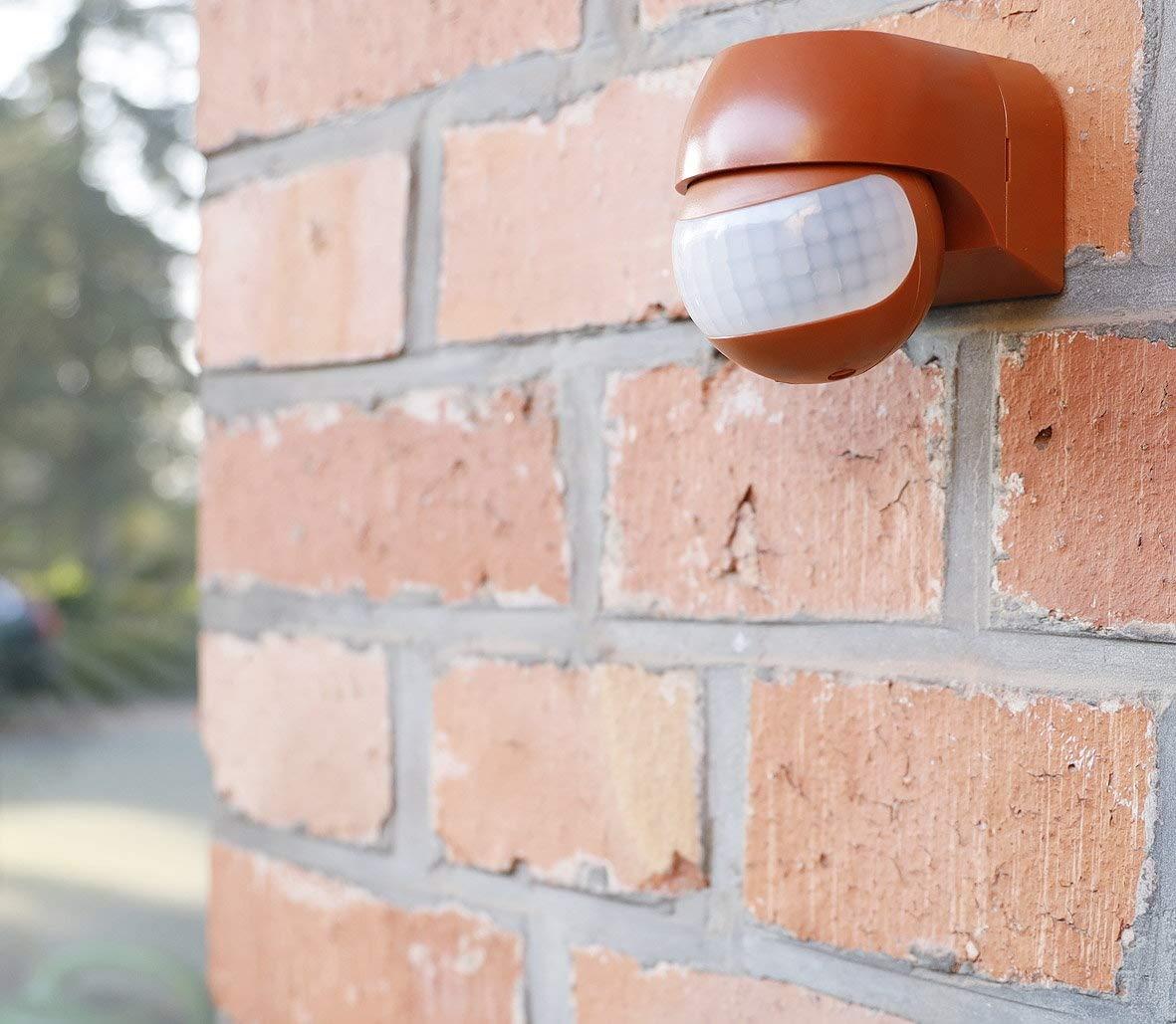 color rojo Detector de movimiento por infrarrojos IP44, 180/°, 230 V, con sensor crepuscular, apto para exteriores a partir de 1 W