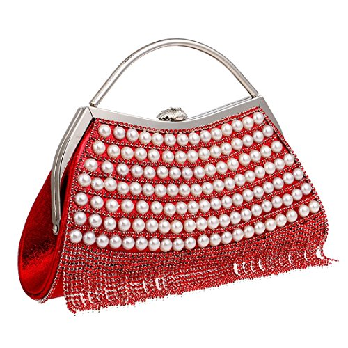 color Magai Monedero Bolso Black Noche Embrague Lujo Red Bolsos De Con Mujer Diamantes vZrvw