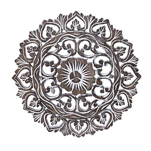 Elaborate Circular Clay Rubbed Lotus Floral Hand Carved Wood Wall Art-12 inches Brown-White