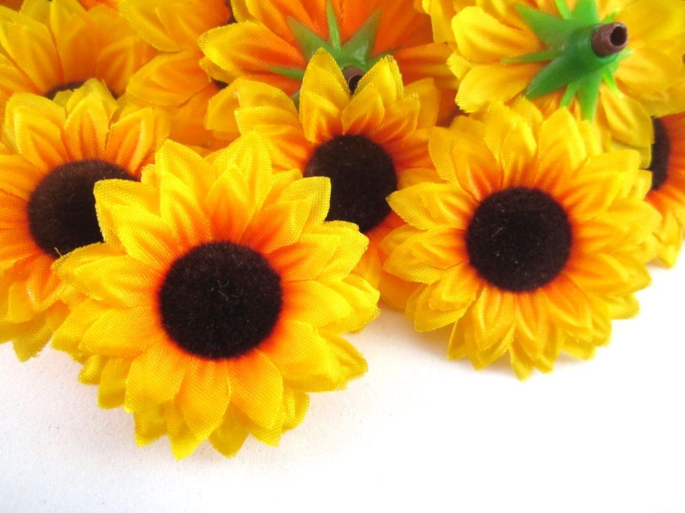 24-Silk-Yellow-Sunflowers-sun-Flower-Heads-Gerber-Daisies-15-Artificial-Flowers-Heads-Fabric-Floral-Supplies-Wholesale-Lot-for-Wedding-Flowers-Accessories-Make-Bridal-Hair-Clips-Headbands-Dress