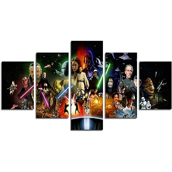 Amazon Com Atfart 5 Piece Jedi And Sith Star Wars Canvas Painting For Living Room Home Decor Canvas Art Wall Poster No Frame Unframed Hb3 50 Inch X30 Inch Posters Prints