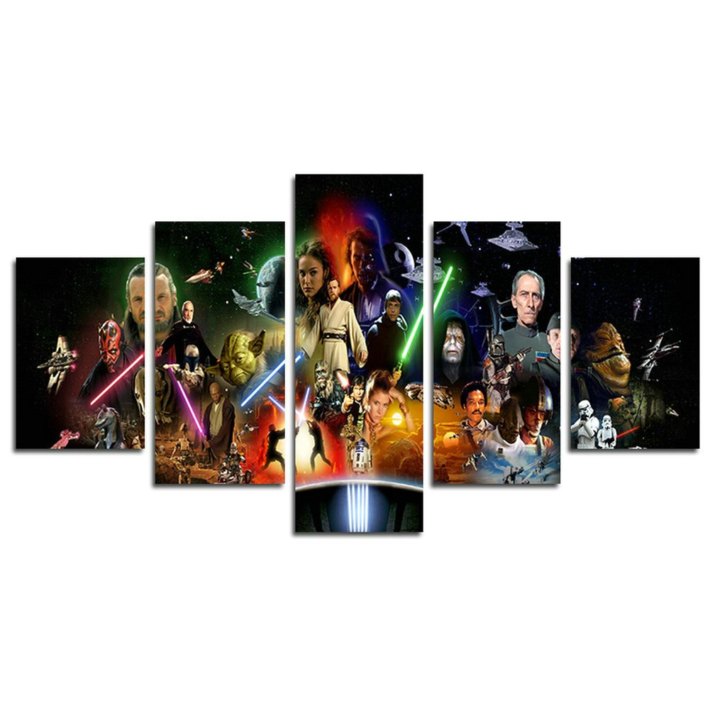 hcozy H.COZY5 Piece Stormtrooper Star Wars Movie Canvas Painting for Living Room Home Decor Canvas Art Wall Poster (No Frame) Unframed SKU-MAX33 50 inch x30 inch…