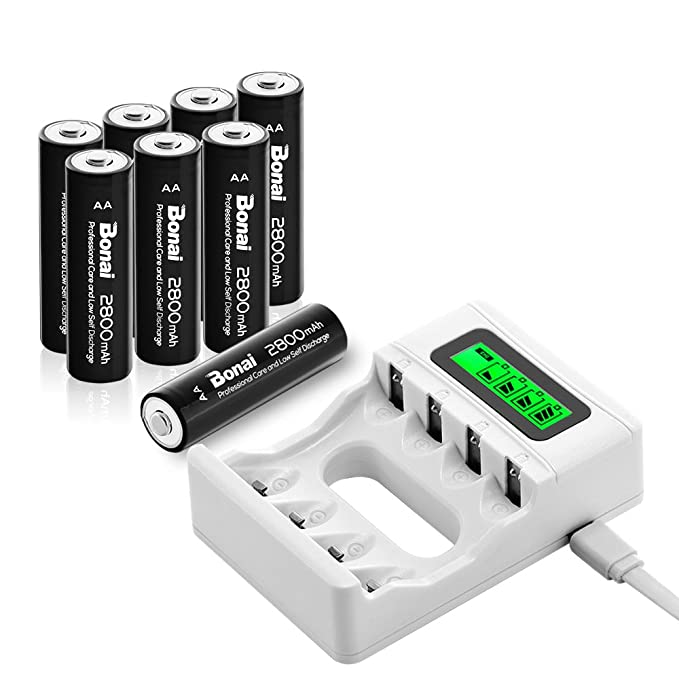 Bonai 4 Bay LCD Smart Individual AA AAA Rechargeable Battery Charger With 8 Pack 2800mAh