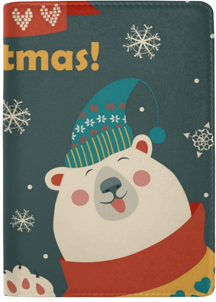 Happy Holiday Polar Bear Leather Passport Holder Cover Case Blocking Travel Wallet