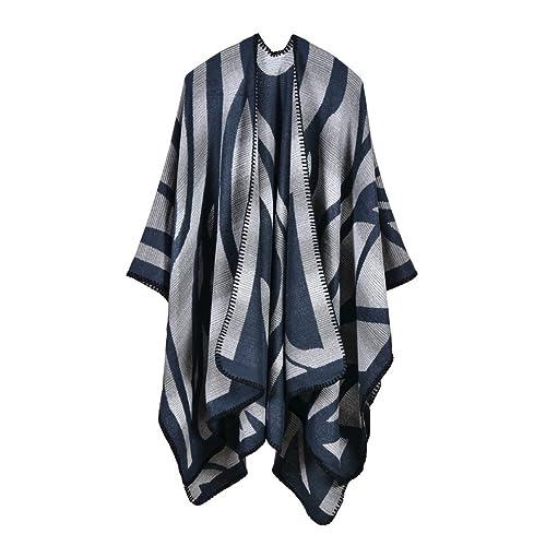 honghu signore cardigan poncho cape velo di bene soft corda maglione autunno - inverno blue