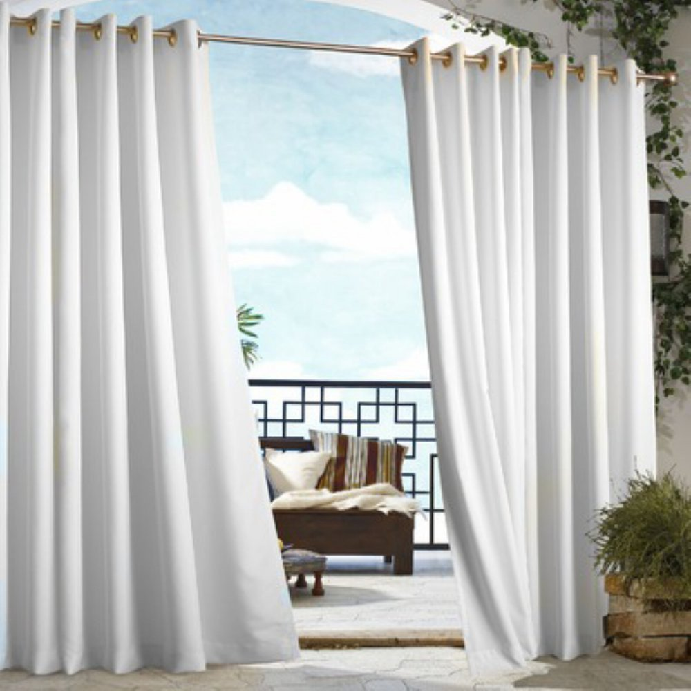 Outdoor Decor Gazebo Grommet Outdoor Curtain Panel White 50 Wide by 108 Long