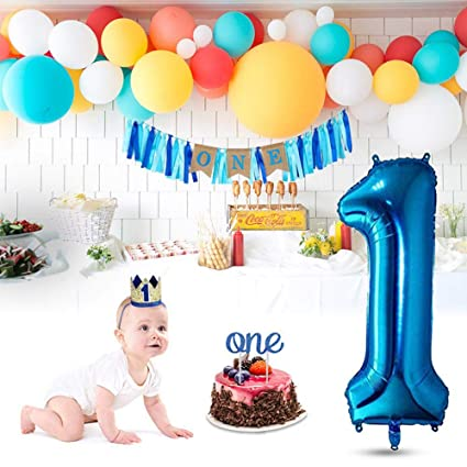 AOLVO 1th Birthday Decorations Happy 1st Boy Kit With Glitter Cake Topper