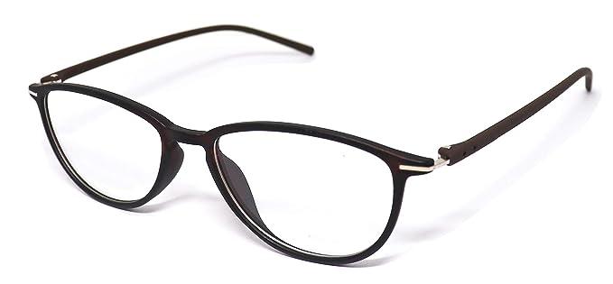 2fc2ebb00ff Justkartit Brown Color Cat Eye Shape Unisex Full Rim Spectacle Frame (Medium  Size Light Weight