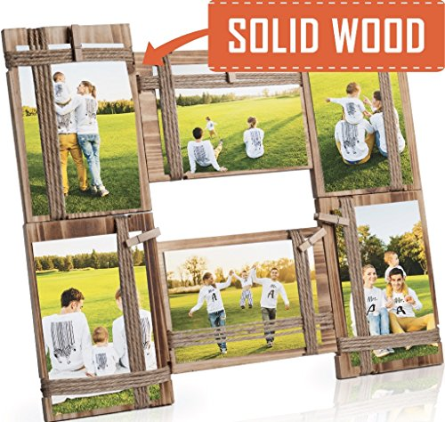 Photo Frame Collage - Large Multiple Picture Frame Displays Six 4x4 or 4x6 Inch - Gift for Family Love & Best Friends (Picture Wooden Friend Frame)