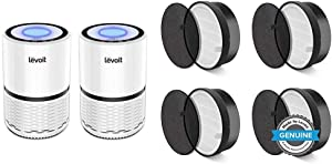 LEVOIT Air Purifier for Home Smokers Allergies and Pets Hair, True HEPA Filter, 2PACK & LV-H132 Air Purifier Replacement Filter LV-H132-RF, 4 Pack, 4 Count