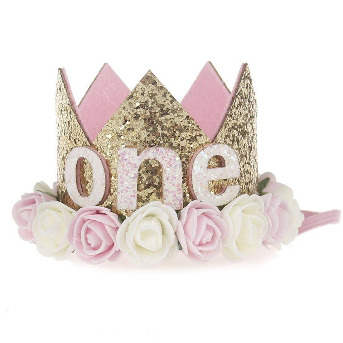 Topcoco Birthday Crown Baby Girl Flower Headband Birthday Party Hairbands
