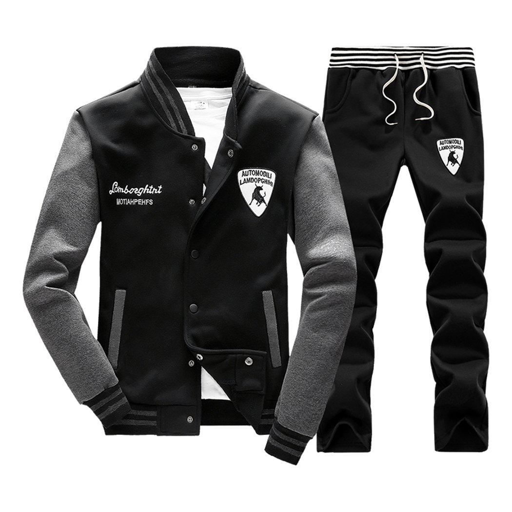 Sun Lorence Men's Slim Fit Jogging Baseball Sweat Suit Set Casual Sports Tracksuits Black M