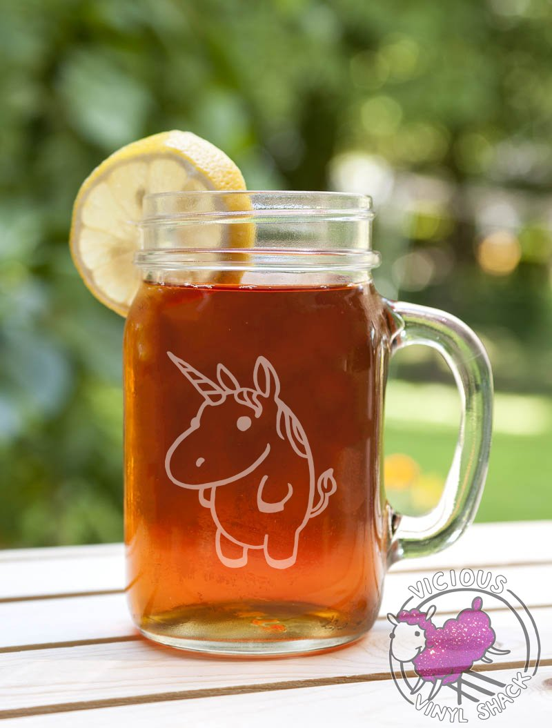 Fat Cute Unicorn Etched Glass Mason Jar Mug with Handle Kids Children Stuffed Animal Baby Babies Fantasy Rainbow Button Standing Sweet Fur Mane Bridle Mythical Flying Pegasus