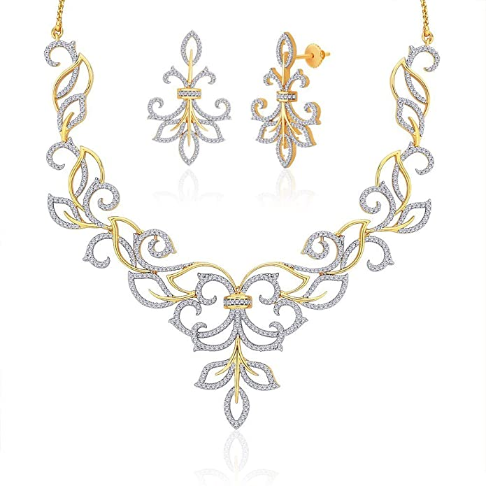 "Peora Valentine 18 Karat Gold Plated Cubic Zirconia ""Kiara"" Necklace Earrings Set (PN416GJ) Jewellery Sets at amazon"