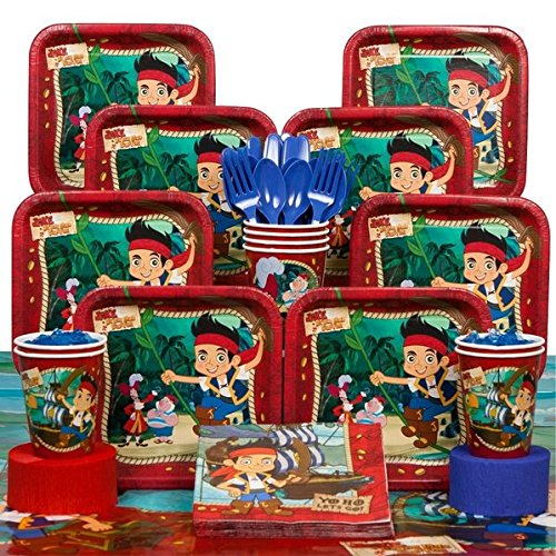 Deluxe Jake & the Neverland Pirates Party Supplies Pack Including Plates, Cups, Tablecover, and Napkins- 16 Guest (Jake The Neverland Pirate Party Supplies)