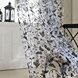 PINCHUANGHUI Window Screening Butterfly Patterns Flocking Voile Tulle 40 Inch by 79 Inch Set of 2 Black