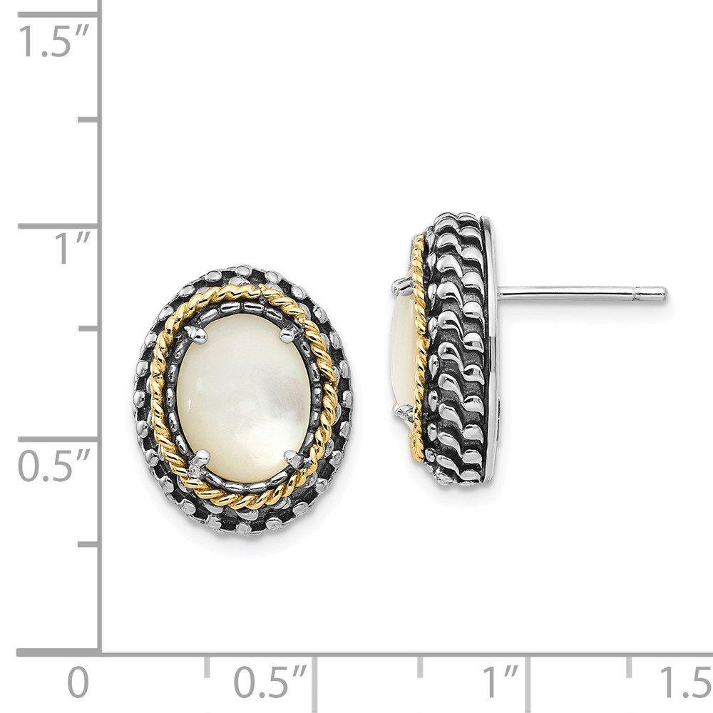925 Sterling Silver w//Real 14kt MOP Post Earrings