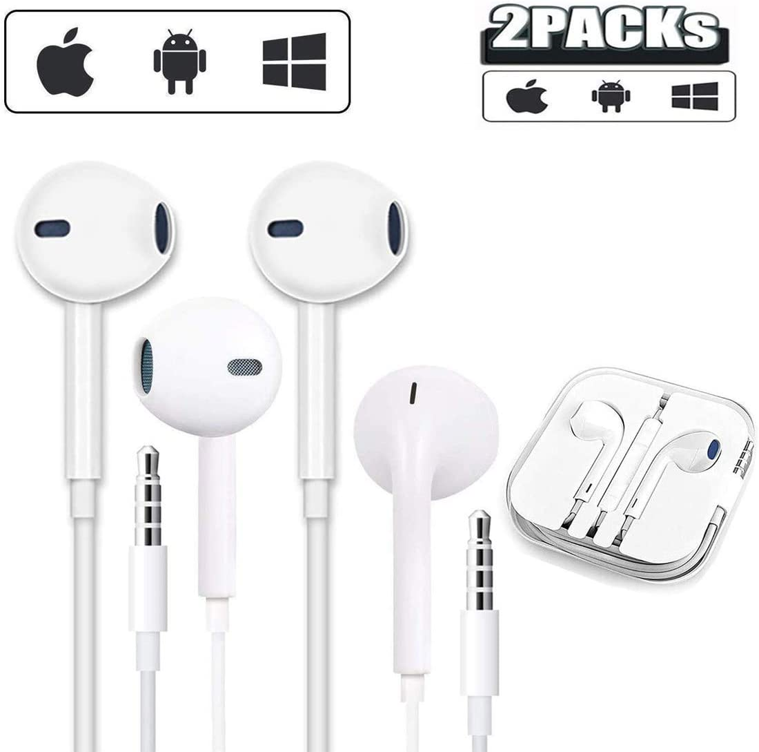 【2 Packs】Earbuds/Earphones ,3.5mm Aux Wired Headphones/Earphones/Earbuds,Noise Isolating Wired Earphones with Microphone & Volume Control,Compatible with iPhone 6 5s /iPod/iPad/PC/Android