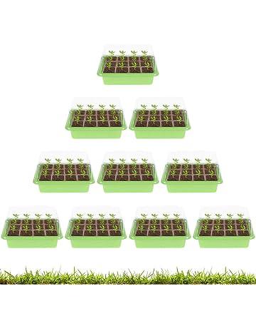 5 Pack, Black Reusable Seed Starter Kit ODOMY 5 Pack Seed Starter Trays with Dome,60 Seed Trays Cell Seedling Trays,Base Greenhouse Grow Trays Mini Propagator for Seedling Germination