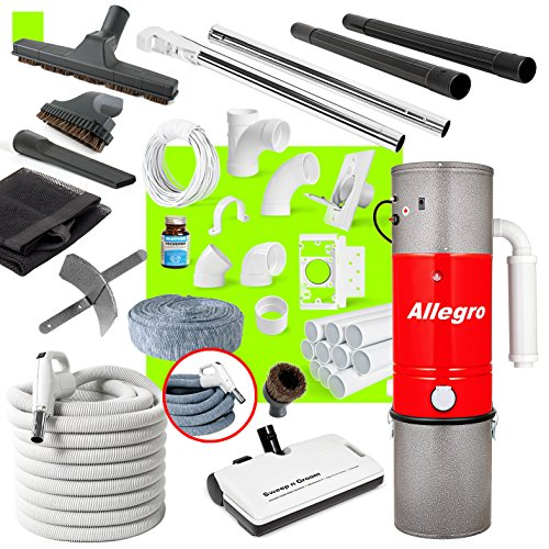Allegro Central Vacuum Complete Electric Package with Unit 3 Inlet Kit & 80 ft Pipe