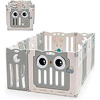 COSTWAY Grondbox baby, 12/14/16 HDPE paneel speelbox babybox, opvouwbare baby speelruimte met veiligheidsslot…
