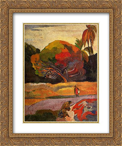 Paul Gauguin 2x Matted 20x24 Gold Ornate Framed Art Print 'Women at the - Galleria Riverside