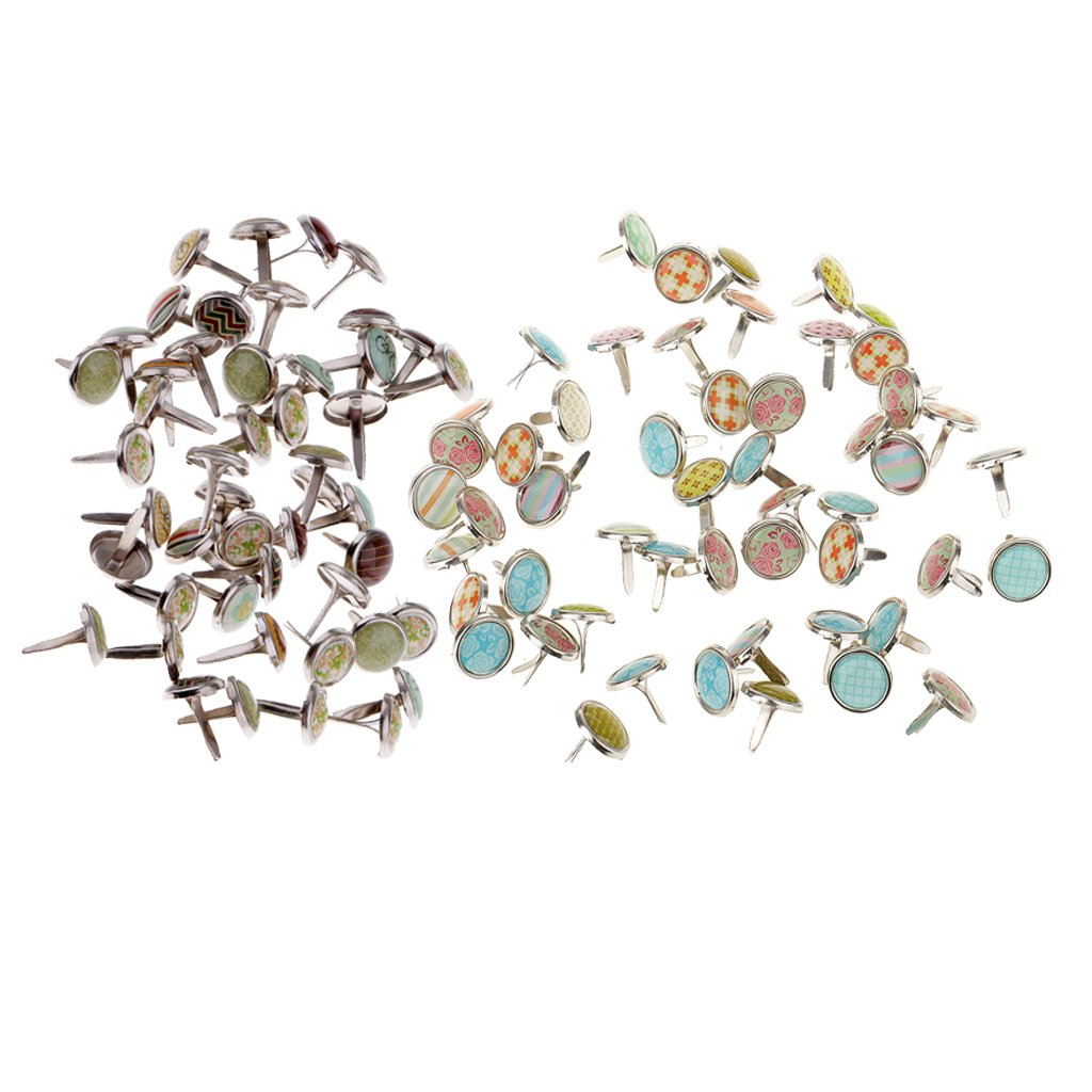 MonkeyJack 100 Pieces 9.5/12mm Mixed Round Brads Paper Fasteners for DIY Scrapbooking Cardmaking