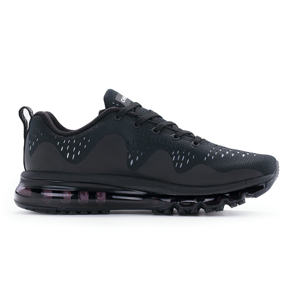 ONEMIX Air Cushion Sports Running Shoes for Men and Women New Wave Casual Walking Sneakers Black US 9.5 by ONEMIX (Image #4)