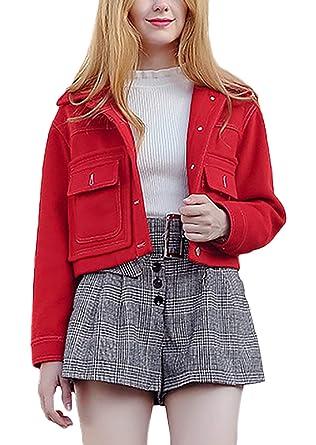 Mujer Chaqueta Primavera Otoño Manga Largo Fashion Abrigos Elegante Colores Sólidos Un Solo Modernas Casual Pecho con Bolsillos Chaqueta Outerwear: ...