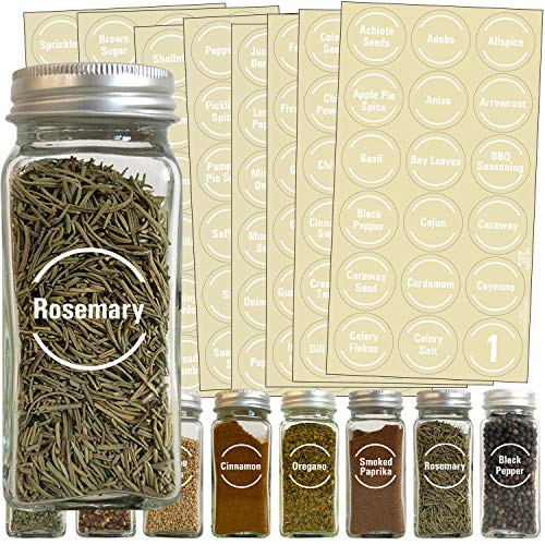 144 White Spice Label & Pantry Label Set: 96 Spice Names + 30 Pantry Ingredients + 9 Blank Write-On Labels + Numbers by Talented Kitchen. White Letters on Round Clear Sticker Water-Resistant for Jars