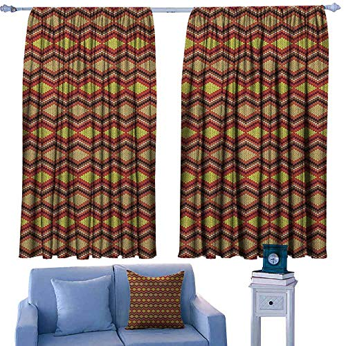 (Mannwarehouse Tan and Brown Windshield Curtain Knitting Themed Graphic Pattern with Zigzag Ornamental Chains and Warm Hues Suitable for Bedroom Living Room Study, etc.63 Wx45 L Multicolor)
