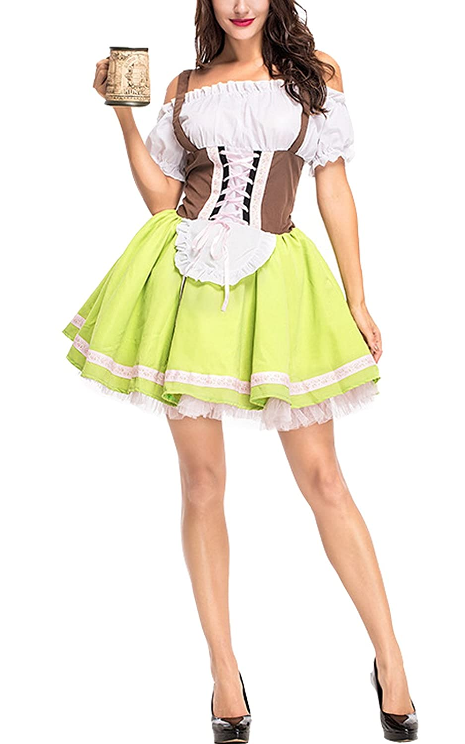 Perfectii Womens Dirndl Costume Oktoberfest Carnival Costume Traditional Dress
