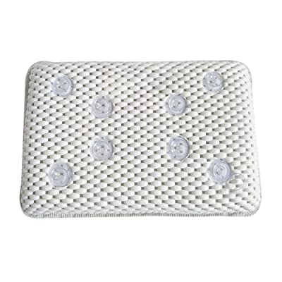 Bathroom Luxury Bath Spa Pillow Cushioned Spongy Relaxing Bathtub Cushion 8 Suction Cups (White) at Women鈥檚 Clothing store