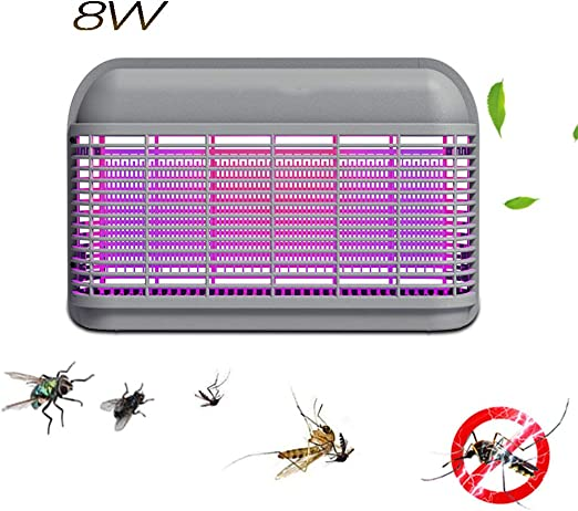 FACAI&SU Lámpara Anti Mosquitos insecticidas de Choque eléctrico LED Lámpara Mata Mosquitos,Polillas,Moscas,Familia,jardín,Oficina,restaurantes,supermercados,Granjas,Patios,hospitales,escuelas,Gray8W: Amazon.es: Jardín